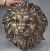 "17"" Chinese Fengshui Bronze Fu Foo Dog Guardian Lion Mask Head Wall mount Statue"