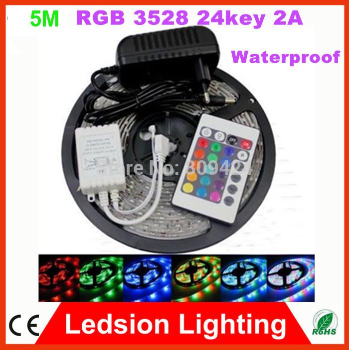Waterproof 5m Roll SMD 3528 RGB 300 LED Flexible Strip Light RGB DC12V 120degree+ 24keyIR Remote+2A Transformer Home Office KTV(China (Mainland))