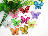 20Pcs Mixed Organza Wire Rhinestone Fluorescent Artificial Butterfly Flowers Wedding Decorations For DIY Scrapbooking (B00115)