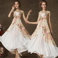 Hot new fashion 2015 summer autumn butterfly long dresses maxi chiffon patchwork flower print casual dress women work wear pink