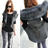 New Arrival 2014 Fashion Design Faux Fur Collar Vest Women Autumn Winter Coat Woolen Waistcoat Sleeveless Jacket Gray Colete