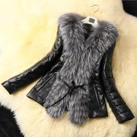 2014 New Fashion winter women coat Long Sleeve fur coats Fox Fur Collar  Long Coat lady  Faux Fur Slim leather jacket with belt