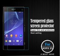 Free shipping 0.3mm plane Premium Explosion-proof Tempered Glass Screen Protector For Sony Z2 For Sony With Retail Package