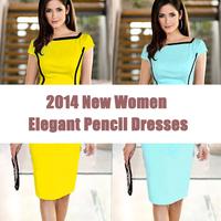 Yellow Blue 2014 New Summer Elegant Women Evening Dresses Slim Stretchy Bodycon Novelty Chic Pocket OL wear to Work Pencil Dress