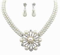 2014 Fashion Women Imitation Pearl Necklace  Necklaces +Earrings For  Bridal  Wedding Jewelry Sets  DFX-556