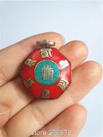 TBP750  Tibetan six words mantras amulet charms Nepal copper inlaid Turquoise vintage six edges pendant