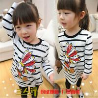 Free Shipping 2014 Spring Autumn New Children Striped Shirt Girls long-sleeved CasualT-Shirt Cotton Comfortable Shirt For Girls
