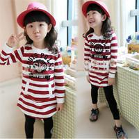 Free Shipping 2014 Spring Autumn New Children Striped Shirt Girls long-sleeved Casual T-Shirt Cotton Cartoon Brand Shirt