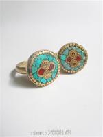 R189  Tibetan Turquoise Vintage rings,Tibet brass golden Lady ring Wholesale Tibet Ring