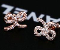 2014 new Swiss zircon bowknot sweety stud earrings 925 sterling silver needle top quality girl jewelery
