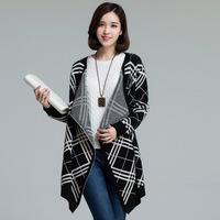 2014 Women Plus Size Vintage Batwing Sleeve Cascading Cardigan Geometric Plus size Ladies Knitted Sweater Coat XL XXL XXXL XXXXL