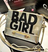 New Arrival 2014 Metal Word Fashionable European Style Alphabetical BAD GIRL Day Clutch Shoulder Bag Small Bag Chain Bag Handbag