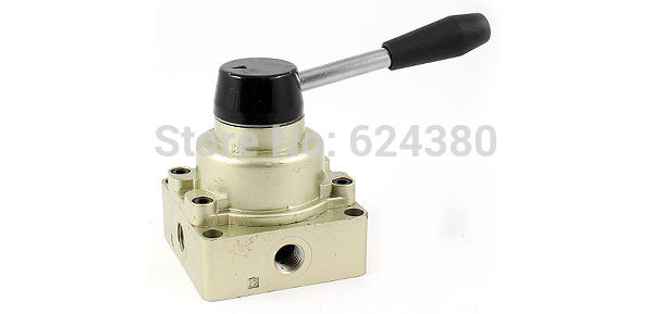 "HV-02 1/4"" Inlet Outlet Exhaust Three 3 Position Four 4 Way Pneumatic Air Hand Lever Valve Center Closed(China (Mainland))"