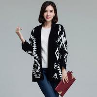 2014 Autumn Plus Size Women Batwing sleeve Long Geometric Cardigan,Ladies knitwear Sweater Coat XL XXL XXXL XXXXL