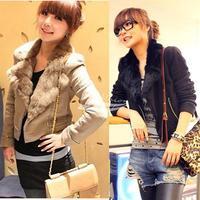 New Korean Women's Long Sleeve Zippered Wool Jacket Short Suit Coat Outerwear Black Brown free shipping 7631