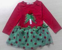5Pcs/Lot New 2014 Baby Girls Red Christmas Dress Girl's Christmas Party Long Sleeve Dress Girl Party Dress Free Shipping