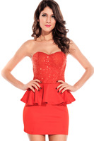 Lowest price New Sexy Black Sequin Peplum Dress  Free shipping LC2788