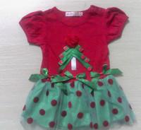 5Pcs/Lot New 2014 Baby Girls Red Christmas Dress Girl's Christmas Party Short Sleeve Dress Girl Party Dress Free Shipping