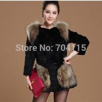 2014 new model slim medium-long faux raccoon fur coat
