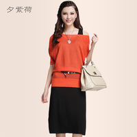 2014 autumn gentlewomen elegant knitted twinset one-piece dress with belt h225165