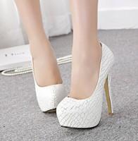 High-heeled shoes platform shoes women's materials single shoes pumps white wedding shoes