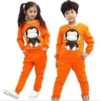 Autumn Fashion Kids suits Sport suit Casual clothes velvet Children clothing sets Tracksuit 1pcs /set coat Boys /girls costume