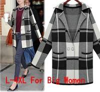 Autumn Winter Coat Women Sweater European Plaid Knitted Cardigans Long Sleeve Long Coat Plus Size L-4XL tricotado C48529
