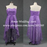 Real Elegant Sweetheart Lavender / Purple Evening Gown Lace Dress For Prom Party High Low Front Short Long Back Vestido De Festa