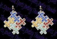 Newest Styles free shipping fashion 30pair a lot antique silver plated Autism Hope Multi-Colored Crystal Puzzle Earring(E100073)