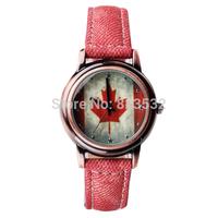 Fashion students watch,sport casual girls BOYS luxury dress genuine LEATHER flag quartz Wristwatch,Relogio Christmas gift