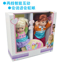 New You me Intelligent Voice Dialogue doll Play house two dolls Twins baby talking and Wink doll 35cm Height  wholesale Quality