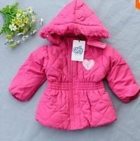 7pcs/lot Hot Sale top 2014 new children jacket  girls winter hooded padded jackets,designer kids outerwear girl coat