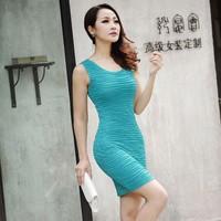 spaghetti strap dress vest slim hip dress 2014 summer new  women dress slim sleeveless ladies dress w001 free shipping