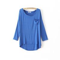 Fashion autumn female basic solid color candy color modal pocket loose long-sleeve T-shirt basic female shirt