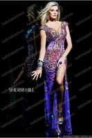 Wholesale EG-690 2014 New Cap Sleeve V Floor Length Long Party Dresses With Slip Gorgeous Crystal Stones Beaded Prom Dresses