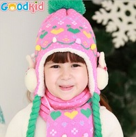 2014 winter girl's lovely ear protectors cap plait rabbits pink hat and scarf shawl 2pcs/set free shipping children hats