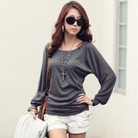 2014 autumn plus size clothing long-sleeve T-shirt basic shirt o-neck medium-long loose batwing shirt