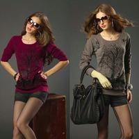 Plus size Women Clothing Loose Shirt Large Pullovers Sweater Women Long-sleeve Cotton Knitwear