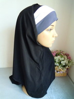 New Crystal Linen Style 2-pcs Set 3 Fold Muslim Hijabs Fashion Islamic Hijab Islamic Scarf Hijabs Free Shipping  Assorted Colors