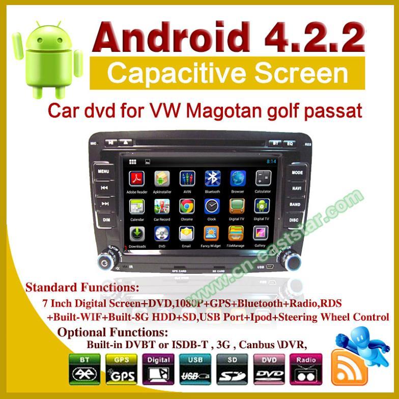 Andriod 4.2 car DVD for Volkswagen VW Magotan golf 5 6 passat with bluetooth ipod gps radio ATV usb sd 3G Wifi ES-2200(China (Mainland))