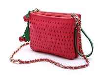 Free shipping 2014 fashion retro hit color strawberry fruit lady clutch handbag shoulder bag messenger bag clutch bag 3 colors