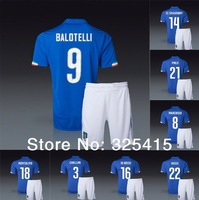 Italy 2014 jersey home blue soccer uniforms football kits EL SHAARAWY BALOTELLI DE ROSSI PIRLO MONTOLIVO MARCHISIO CASSANO