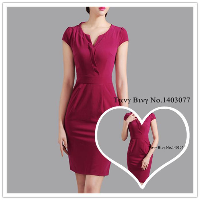 Plus Size New Fashion 2014 Professional Women's Formal Elegant Vintage V-neck Slim Short Sleeve Pencil 2014 Bodycon Dresses(China (Mainland))