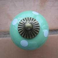 Free Shipping  10pcs30mm Ceramic Spots Dargon Ball Door  Handle Pull Knobs Cabinet Cupboard Drawer Locker Vintage Retro Green