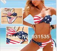 2014 Hot Sale Women's USA Flag Print Bikinis Swimsuit Female Sexy Swiming Wear Bkini Sets Bachwear Swim Suit FREE DROP/SHIP