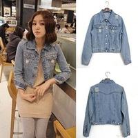 2014 Korean women long sleeves brand denim jacket holed design Autumn cute denim jacket womens