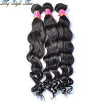 4A Unprocessed Virgin Brazilian Loose Wave Human Hair Bundles Mixed Length 3pcs/lot,10 to 26 28 and 30 inches,Natural black,#1b
