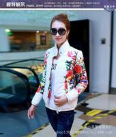 New 2014 Hot selling fashion winter coat & parka women,slim cute brand flower paterrn  winter jacket women free shipping