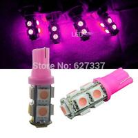2014 Hot Sale  Wholesale Pink 100pcs/lot T10 9smd 5050 Car 194 168 192 W5w Led Light Automobile Bulbs Lamp Wedge Interior