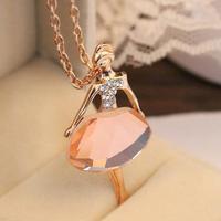 CMN024 So Beautiful Ballet Girl Necklace Dazzling Rhinestone Crystal Girls Pendants Necklace